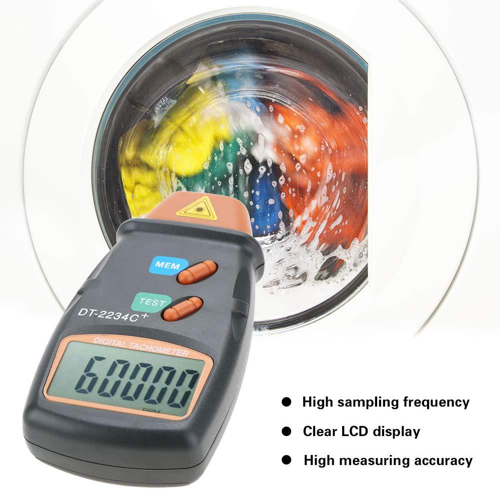 Ordinateur de poche LCD fr/équence num/érique /à haute fr/équence de tachym/ètre num/érique Plage de tach Sans contact 2.5RPM-99999RPM Tachym/ètre num/érique DT-2234C