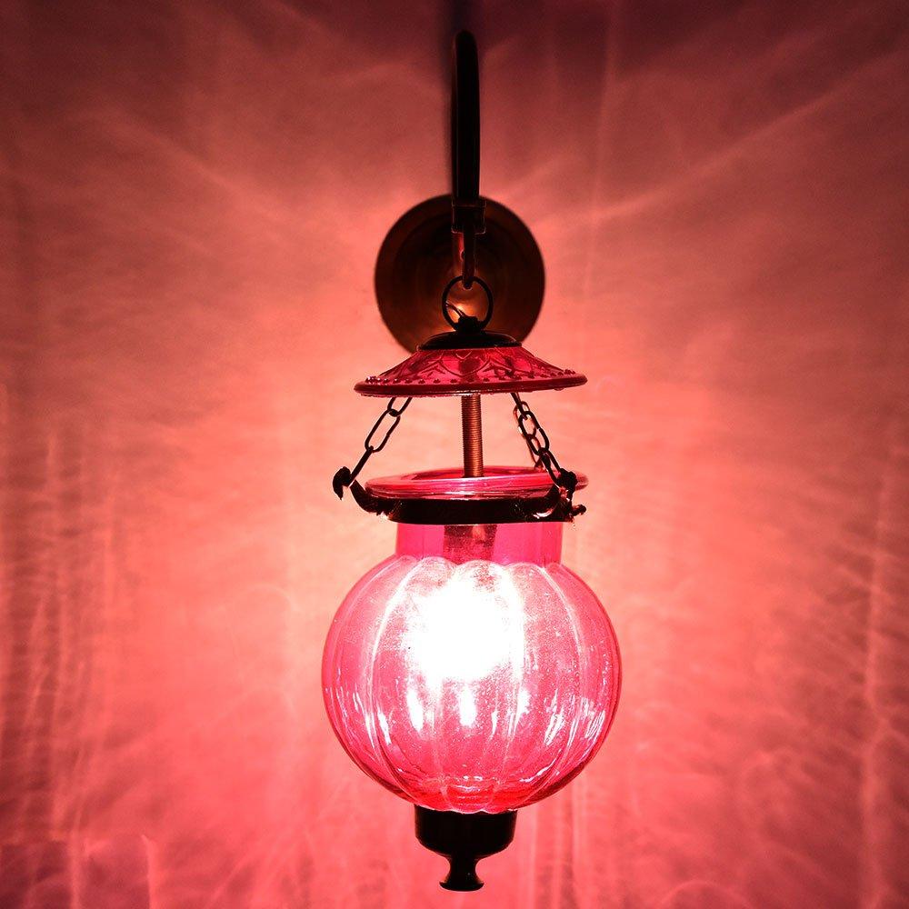 Handmade Vintage Pink Melon Shaped Glass Wall Sconces Hanging Lamp Lighting Bronze Bracket