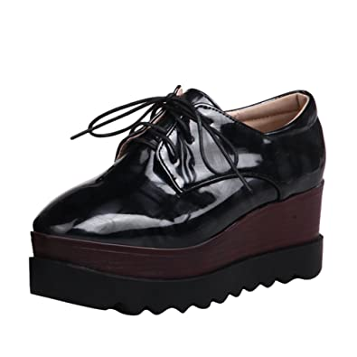 4fc432e8ca38 Latasa Women s Platform Lace up Oxford Wedges Shoes (4.5