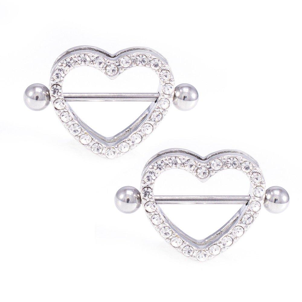 BodyJEwelryOnline Paved Heart Nipple Shield Cz Jewels Black, Gold, Rose Gold Surgical Steel Colors 14G B07CNZFRDC Ssteel - Clear  Ssteel - Clear