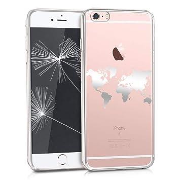 Kwmobile Carcasa para Apple iPhone 6 Plus/6S Plus – Carcasa Trasera de Silicona TPU para Smartphone – Backcover Plateado/Transparente
