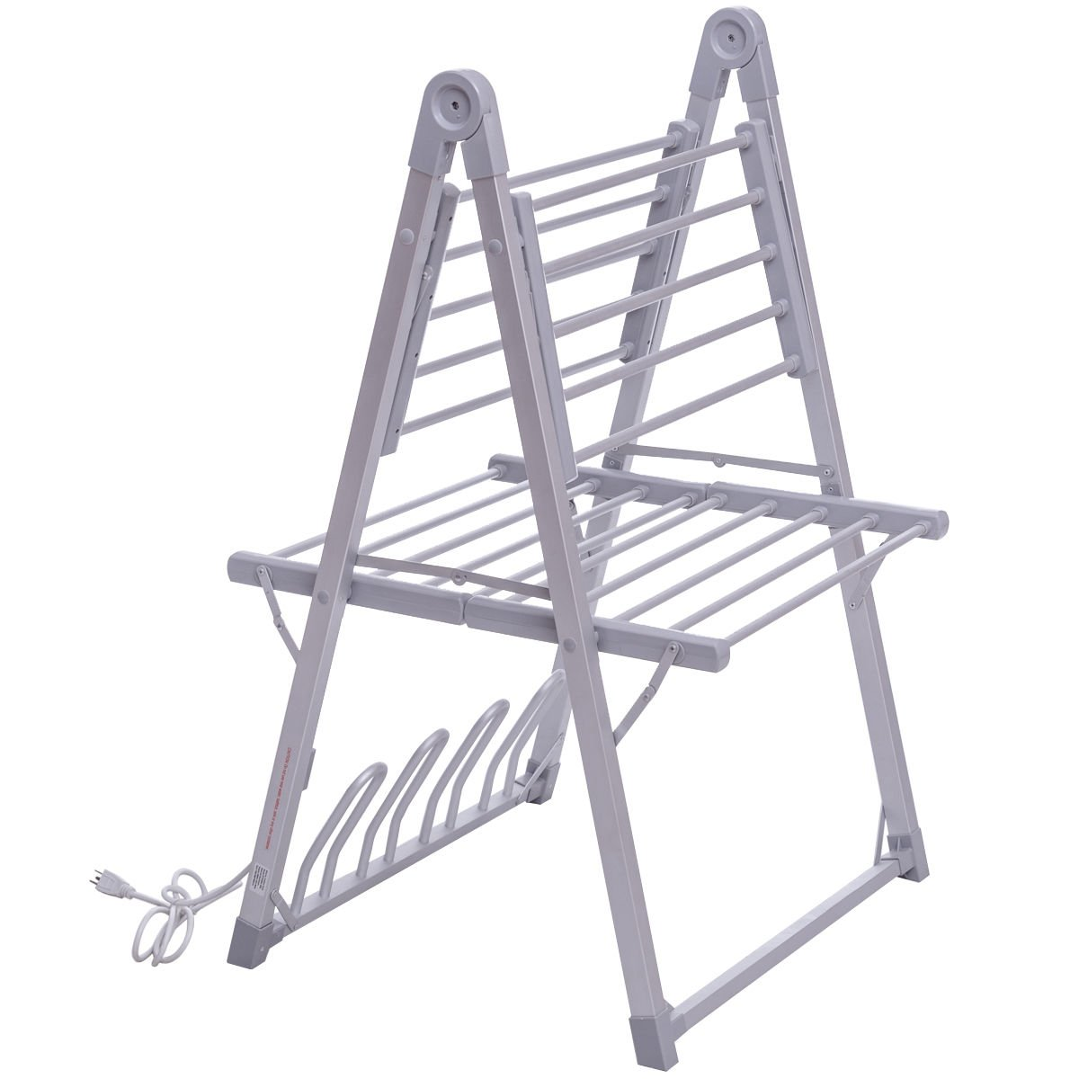 TANGKULA Towel Warmer Foldable Free Standing Multifunction Clothes Towels Shoes Drying Rack for Home Bathroom Space Saving Towel Heater Hanger (Silver with Shoe Drying Rack)