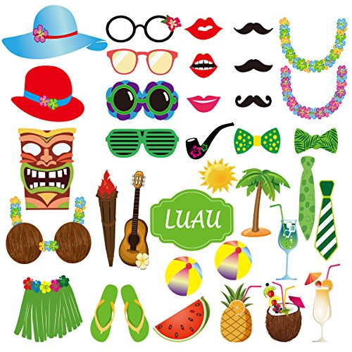 BESTOYARD Photo Booth Props Hawaii Luau Summer Beach Pool Party Supplies Wedding Birthday Baby Shower Party Photo Booth Props Kit 36pcs