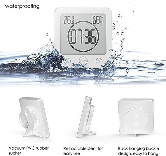 Gluck blanc étanche Horloge pour salle de bain Cuisine Douche Ventouse Horloge Murale