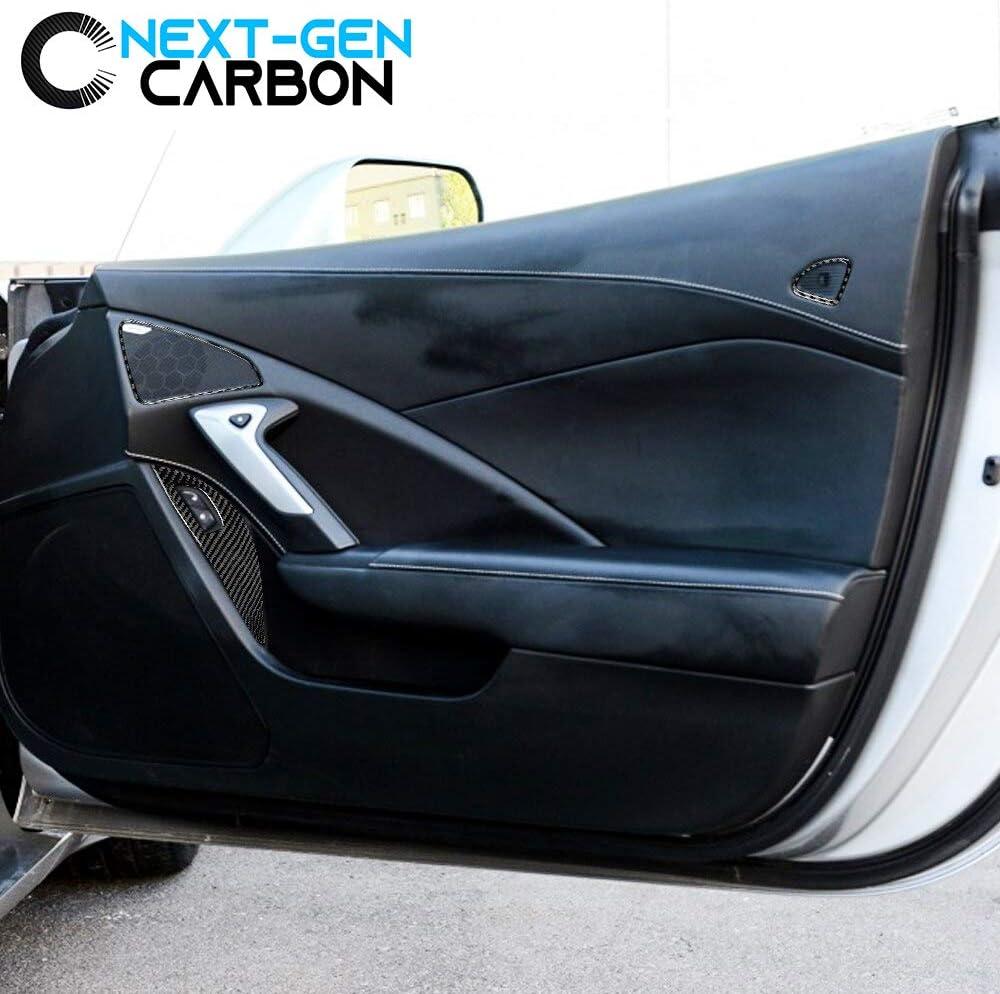 Next-Gen Speed Corvette C7 Real Carbon Window Switch Speaker Trim Kit for Corvette 2014 2015 2016 2017 2018 2019 Glossy Carbon Cover Protector Carbon Stingray Z06 ZR1 Grandsport