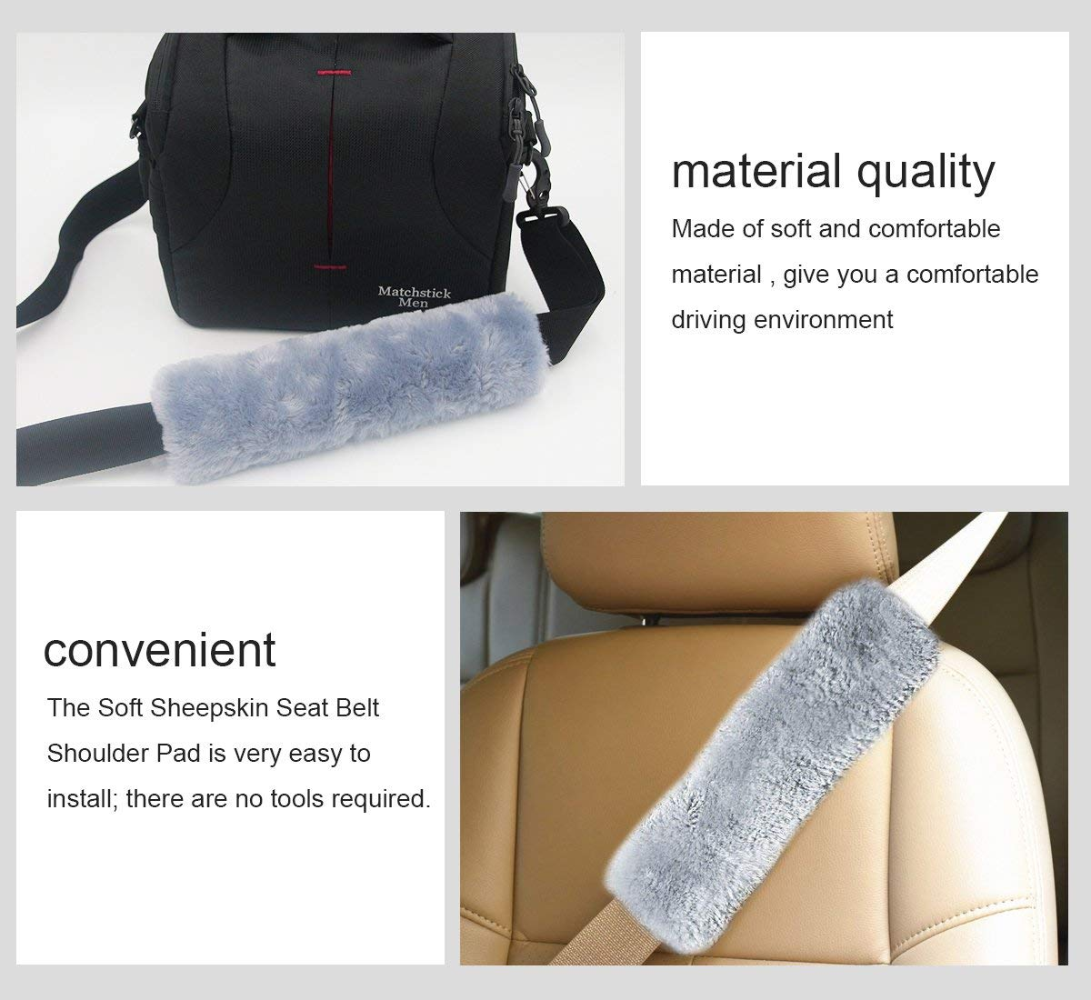 Carrep Car Seat Belt Pads Soft Seatbelt Covers Pillows Faux Sheepskin for Kids Adult Universal (2019 Gray)