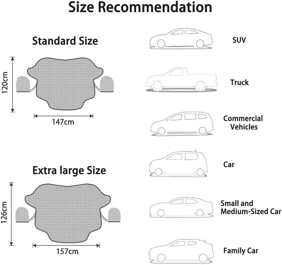 Magnetic Snow Cover with Two Mirror Covers Windshield Ice Cover Dust Sun Shade Protector in All Weather Windshield Cover for Most Vehicles FOLOU Windscreen Snow Cove