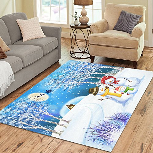 InterestPrint Winter Snowman Family in Field Area Rug Carpet 7 x 5 Feet, Christmas Tree Santa Claus Modern Floor Rugs Mat for Office Home Living Dining Room Decoration