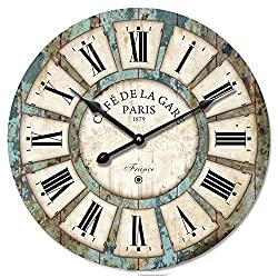 16-in Vintage Roman Numeral Design Wood Clock - Eruner France Paris *Café De La Gare* Colourful French Paris Tuscan Style Non-Ticking Quartz Movement Wooden Wall Clock Cafe Bar(16, #03)