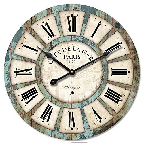 Eruner 12-inch Vintage Wood Wall Clock - France Paris Colourful French Country Tuscan Style Non-Ticking Silent Wooden Wall Clock (#03)
