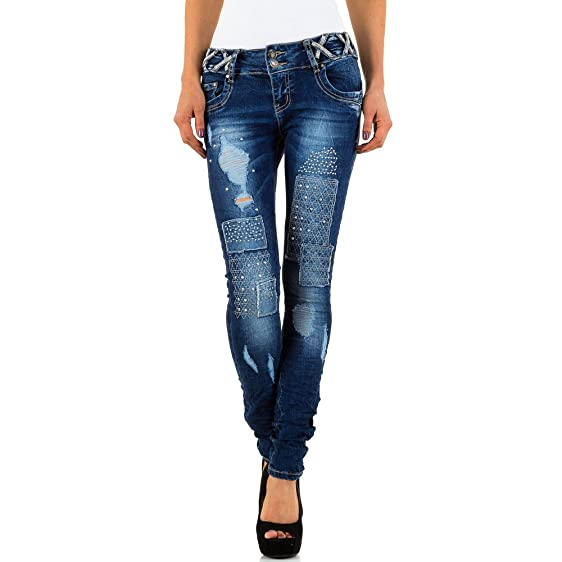 Destroyed Low Strass Skinny Jeans Für Damen , Blau In Gr. 34 bei Ital-