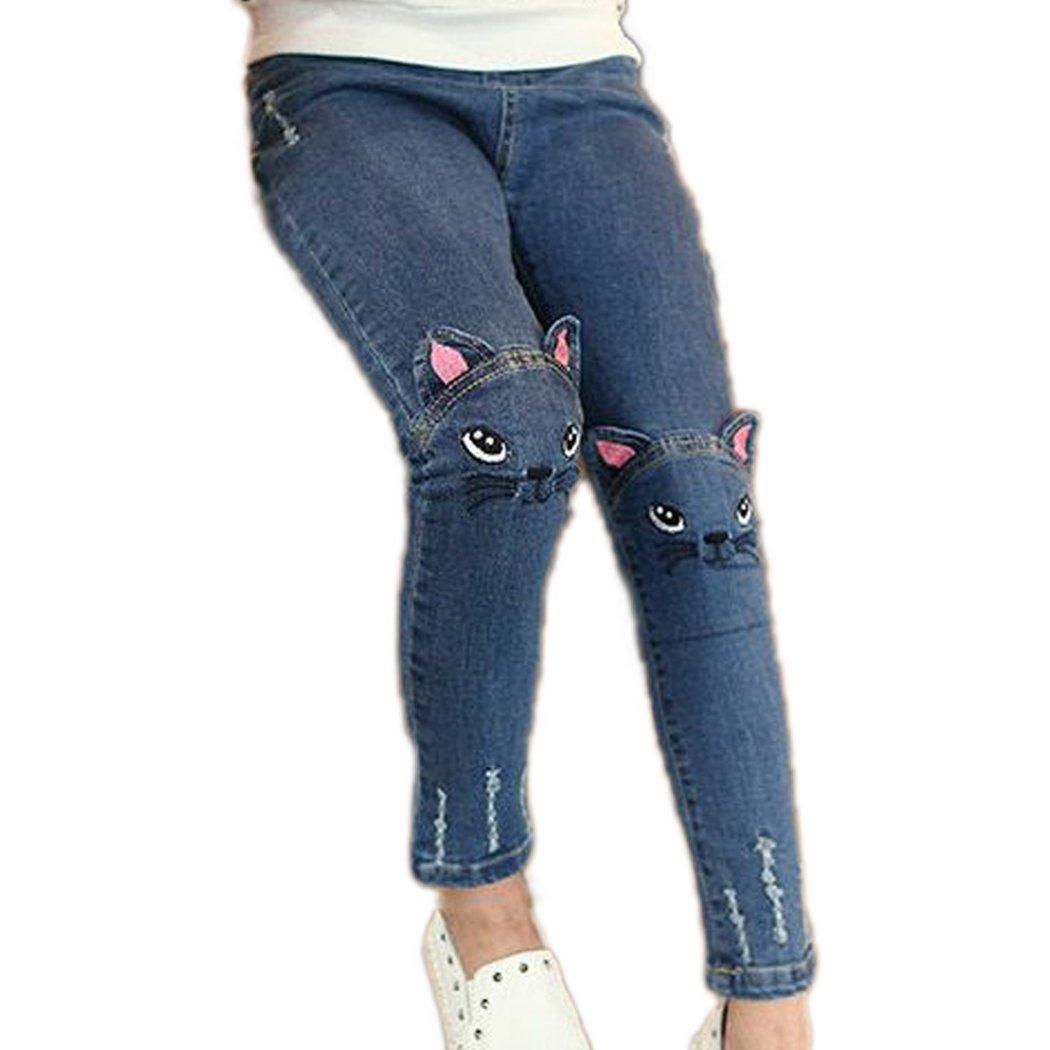 Colorful Childhood Baby Girls Jeans Kids Denim Cartoon Cat Pants Size 2-3T