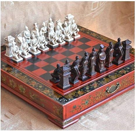 XSWZAQ Guerreros de Terracota Chinos Antiguos 32 Juego de ajedrez Mesa de Madera Juegos de ajedrez Regalo: Amazon.es: Hogar
