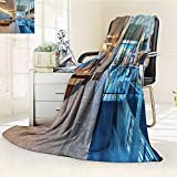 YOYI-HOME Digital Printing Duplex Printed Blanket Spa Indoor Swimming Pool with Relaxing Long Seats Calming Image Turquoise Light Blue and White Summer Quilt Comforter /W47 x H79