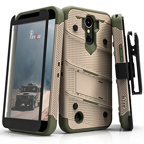 Zizo Bolt Series compatilbe with LG K20 Plus Case Military Grade Drop Tested with Tempered Glass Screen Protector Holster LG Harmony TAN CAMO Green