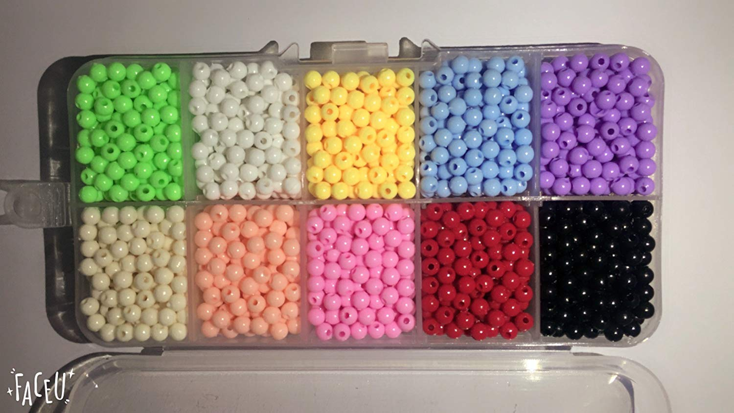 Zhiwen 2000 pieces of bulk plastic rainbow opaque mixed color pony beads handmade jewelry beads Assortment Box Set Value Pack(4mm,Boxed)