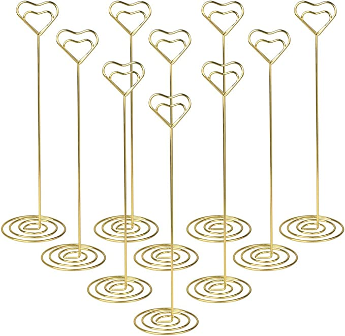 SMOOTHCLUE 24 Pack Table Number Holder Place Card Holders Table Picture Holder Photo Holder for Wedding Party Banquet and Memo Note,4 Shapes (Gold)