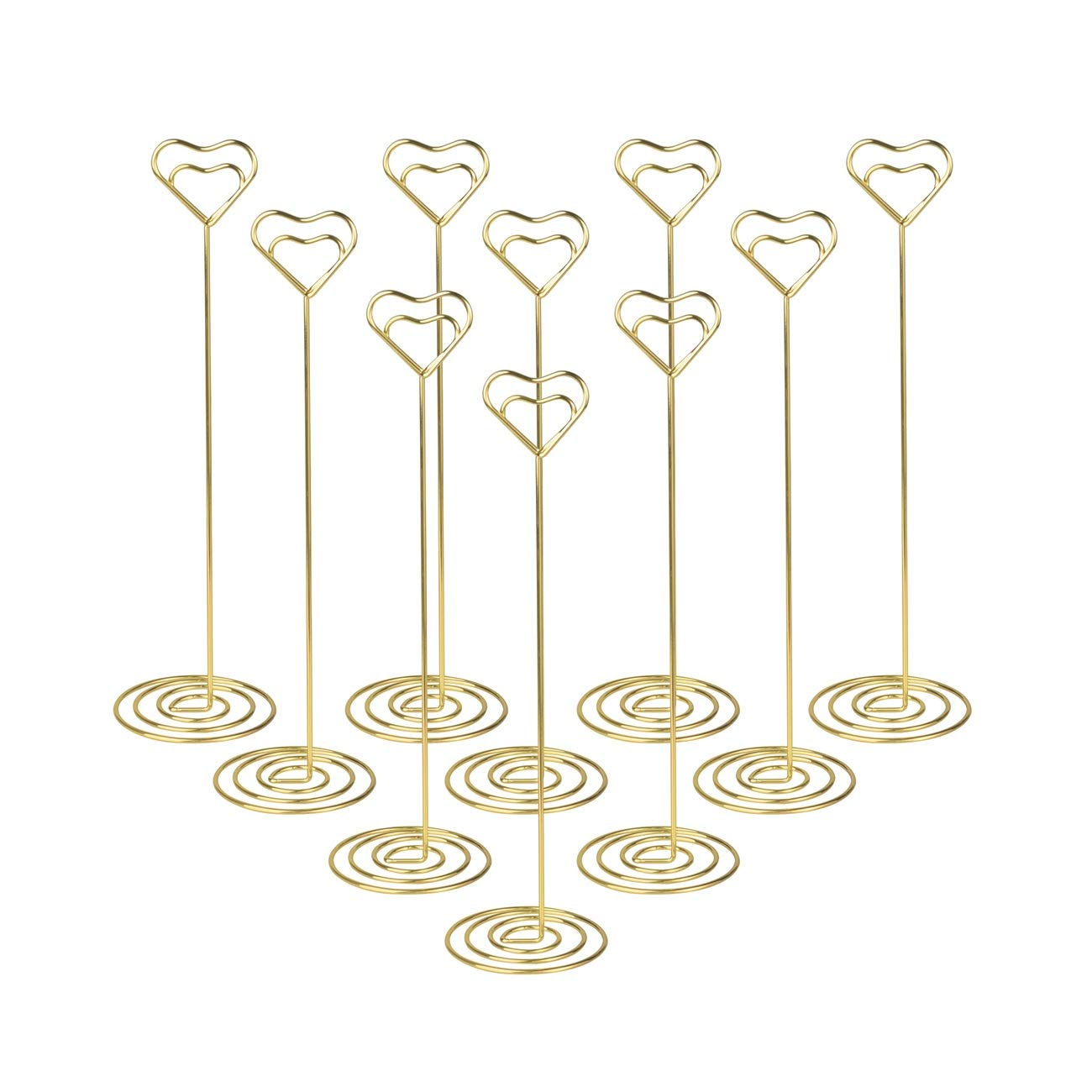 10pcs Table Number Holder Gold Wedding Place Card Holder, Picture Photo Holders 8.6 Inch Tall - Note Menu Memo Clips for Party Gatherings Volla