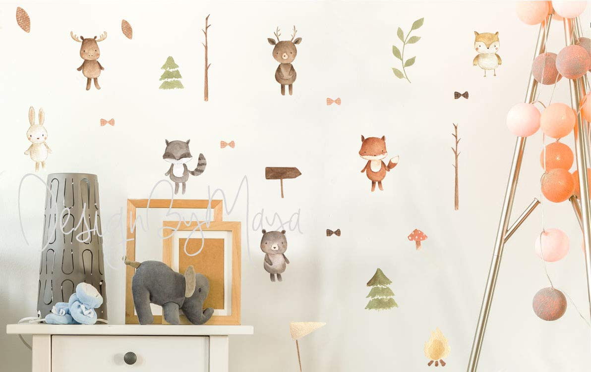 J517 Forest Animals Fox Bears Kids Window Wall Decal 3D Art Stickers Vinyl Room