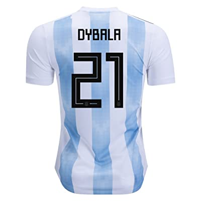 #21 Dybala 2018 Russia World Cup Argentina National Soccer Home Jersey Mens Color White/Blue Size L