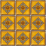 Ceramic Talavera Mexican Tile 4x4'', 9 Pieces (NOT Stickers) A1 Export Quality! - EX408
