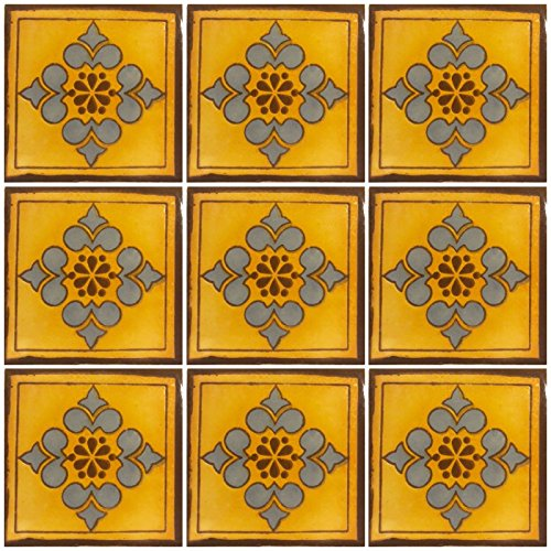 Ceramic Talavera Mexican Tile 4x4'', 9 Pieces (NOT Stickers) A1 Export Quality! - EX408 by DRT TALAVERA