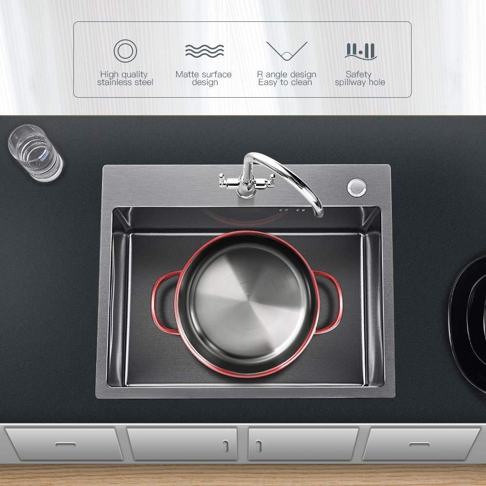 22CM Lavandino Per Cucina Nessuna Pista Affondare Con I Gap 5 Anni Di Garanzia 35 Auralum Set Lavello In Acciaio Inox 304 45 lavandino drainer come un regalo