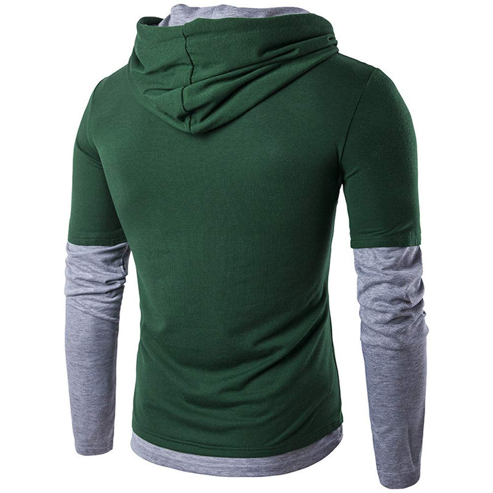 Mens Casual Hooded Sweatershirt Long Sleeve Patchwork Top Blouse Outwear Jacket Clothing Deals NRUTUP Active Hoodies