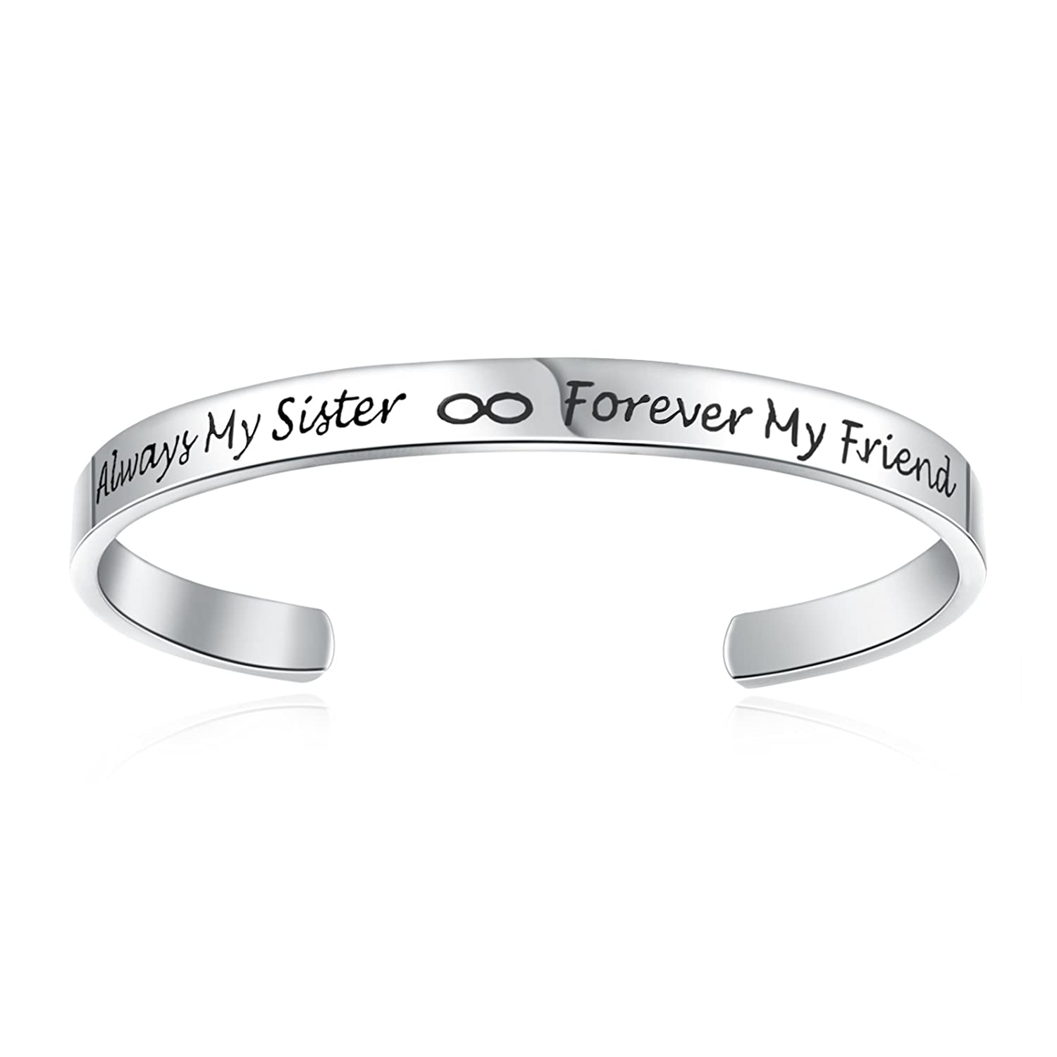 Cuff Bangle Bracelet Engraved Always My Sister Forever My Friend Jewelry Gift for Sister Anna Crystal Jewelry B075GKG4QW_US
