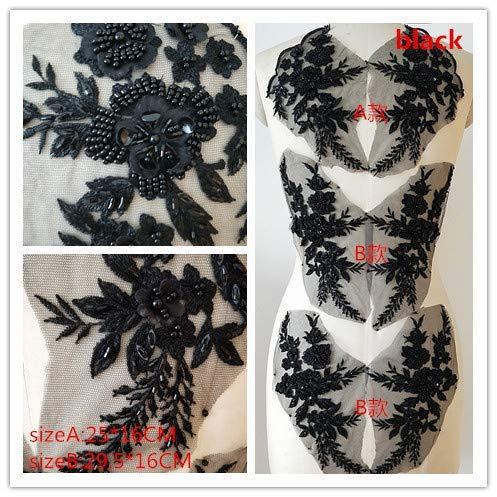 Hand Beaded Flower Sequence 3D Lace Applique Motif Sold by 3 Pairs Great for DIY Decorated Craft Sewing Costume Evening Bridal Top A6 (Black)
