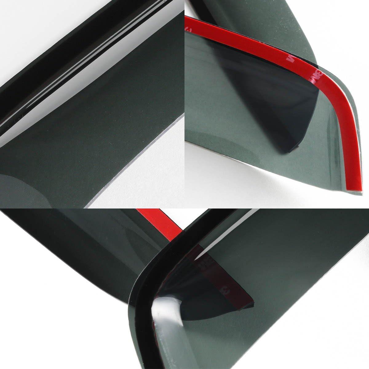 ,Dark Smoke 12-17 Fiat 500 2-Dr Coupe DNA MOTORING WVS-T2-0023 Window Visor Deflector Rain Guard