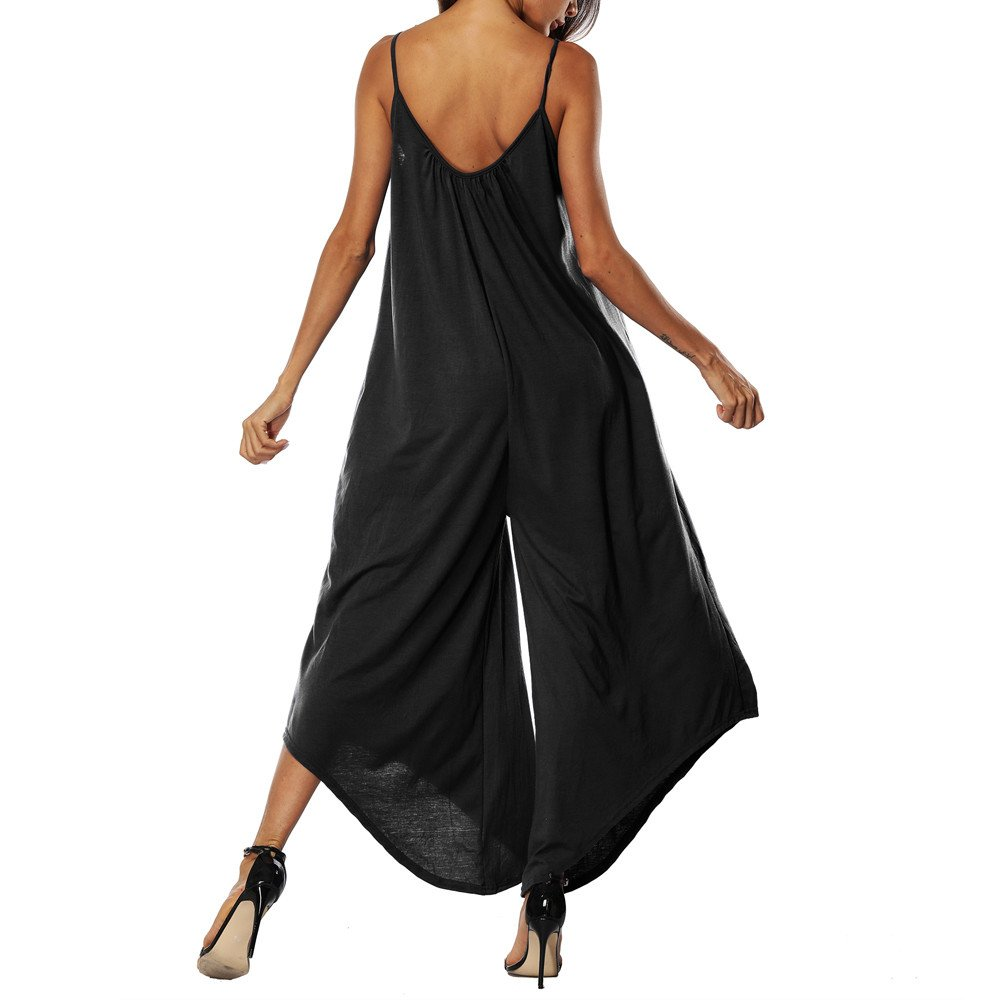 Corriee Plus Size Jumpsuits for Women Leisure Spaghetti Strap V Neck Stripe Baggy Jumpsuit Rompers