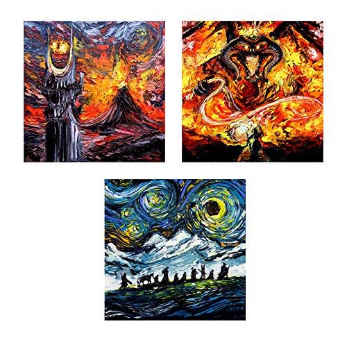 3 print set - Lord of the Rings Art - Fantasy Art - Starry Night - Fine art prints - Art by Aja 8x8, 10x10, 12x12, 20x20, 24x24 inches choose - Iii Fine Art Canvas Print
