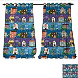 Cheap Blackout Window Curtain Hand Drawn Style Colorful Townhouses City Architecture Twilight Trees Cars and Owls Customized Curtains W120 x L108 Multicolor