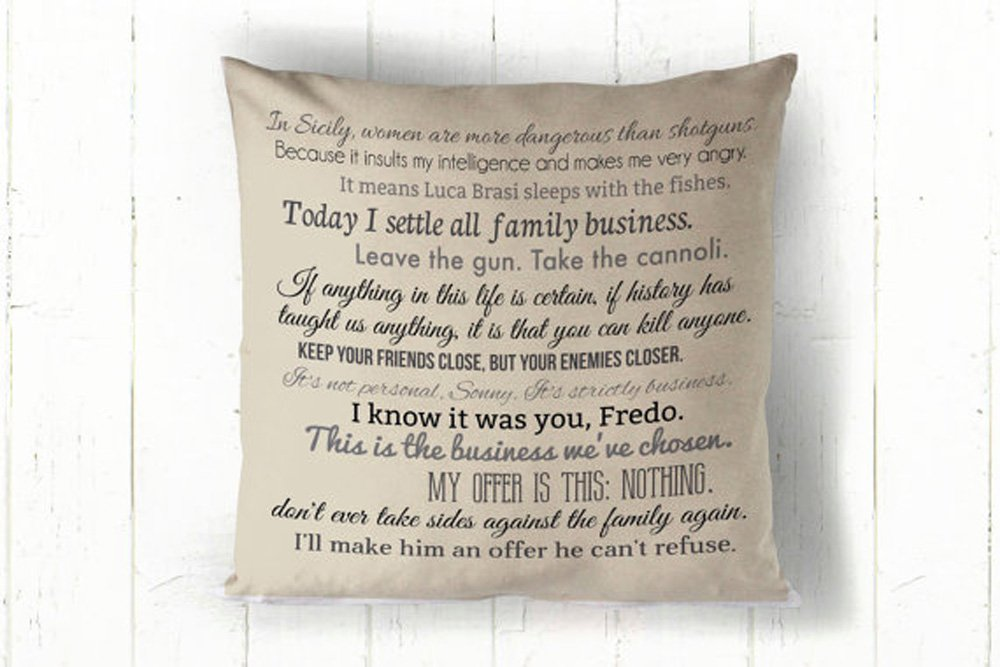 High quality The Godfather 1&2 movie quote pillow cover 16x16inch - movie quotes - machine washable pillow cover - home textiles - fiber arts