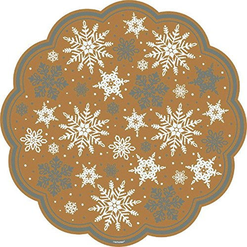 amscan Festive Christmas and Holiday Party Snowflake Doilies Decoration, Gold/Silver/White, Paper , 12