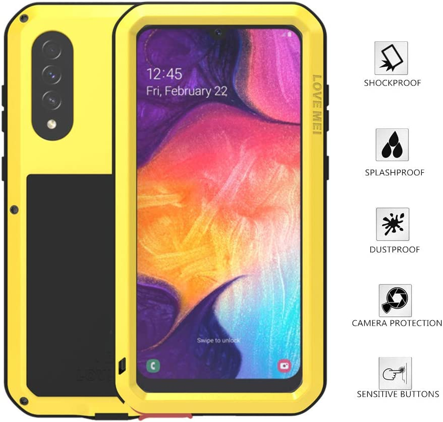 LOVE MEI Samsung Galaxy A50 Case, Aluminum Metal Gorilla Glass Waterproof Shockproof Military Heavy Duty Sturdy Protector Cover Hard Case for Samsung Galaxy A50 (Yellow, A50)