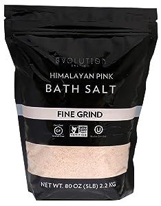 Evolution Salt Himalayan Pink Bath Salt, Fine Grind, 5 Pound (BFG-5)