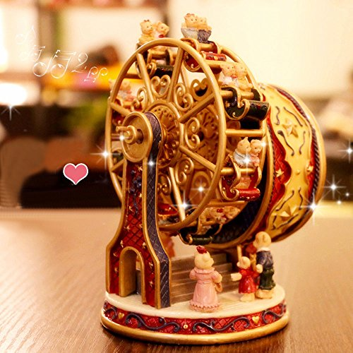 ASNOMY Personalized Rotating Ferris Wheel Music Box for Girls or Boys' Birthday, Music Box Melody Canon(Canon)