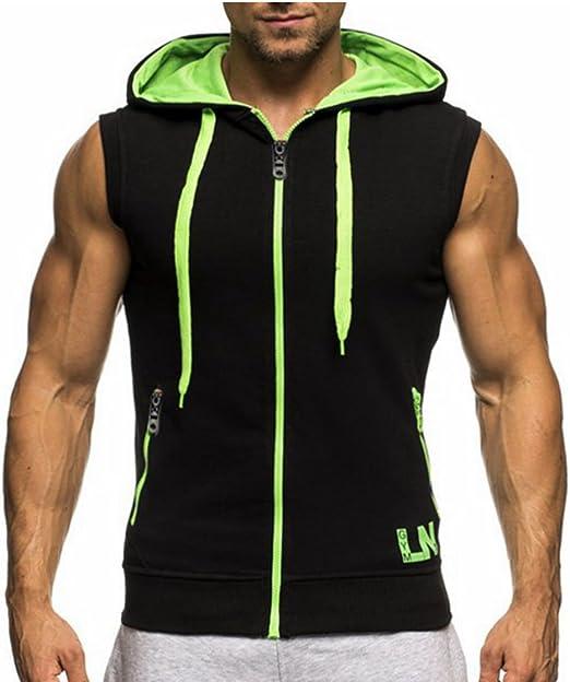 Fllay Men Workout Zipper Hoodie Contrast Color Sleeveless Sweatshirt Top