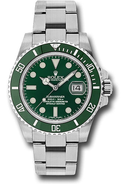 Rolex Oyster Perpetual 40 mmステンレススチールSubmariner Date回転可能グリーンcerachromベゼルと緑のインデックスダイヤル。 B075X3H3HK
