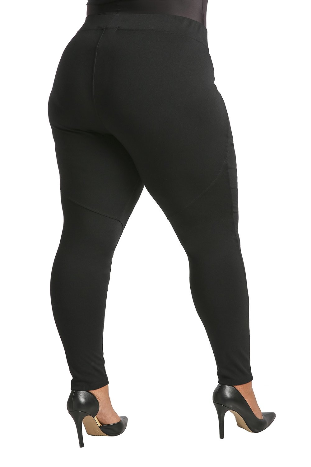 Poetic Justice Plus Size Women's Curvy Fit Black Stretch Ponte Pull On Moto Legging Size 2X by Poetic Justice (Image #3)