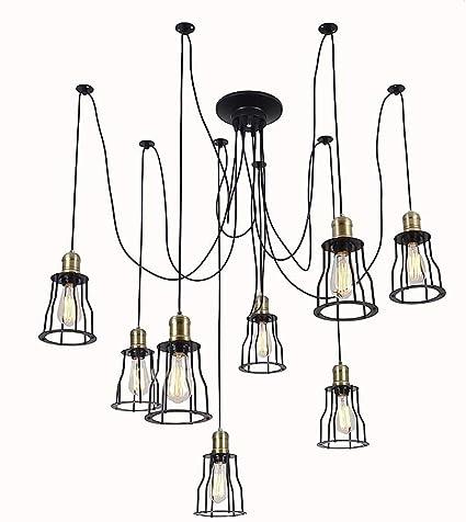 FDA3H Loft retrò stile industriale E27 lampadario, lampade a sospensione  vintage lampada ragno Lampada a