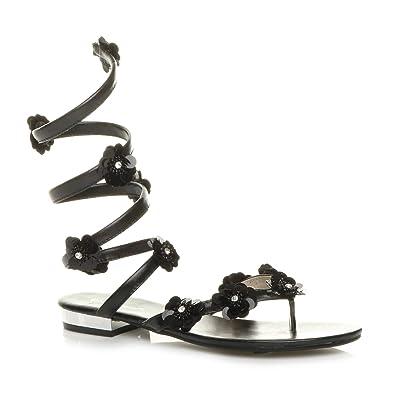 c74fa009cb7 Ajvani Womens Ladies Flat Strappy Flower wrap Around flip Flops Sandals Size  3 36 Black