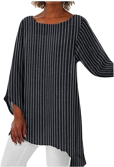 Camisetas de Rayas Mujer Verano Sencillos Blusa Blusa Holgada ...