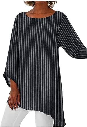 Camisetas de Rayas Mujer Verano Sencillos Blusa Blusa ...