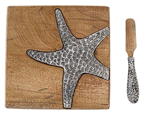 Mud Pie Mango Wood Bar Starfish Board Set, Brown