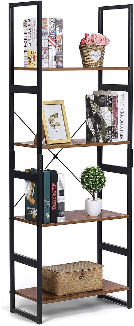 KingSo Industrial Ladder Shelf 4-Tier Shelves Bookshelf Vintage Rustic Large Storage Rack Shelves, Ladder Bookcase with Wood Look & Metal Frame Accent Furniture for Home Living Room Study Lounge Bedro