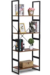 KINGSO Industrial Ladder Shelf 4-Tier Shelves Bookshelf Vintage Rustic Large Storage Rack Shelves, Ladder Bookcase with Wood Look & Metal Frame Accent Furniture for Home Living Room Study Lounge