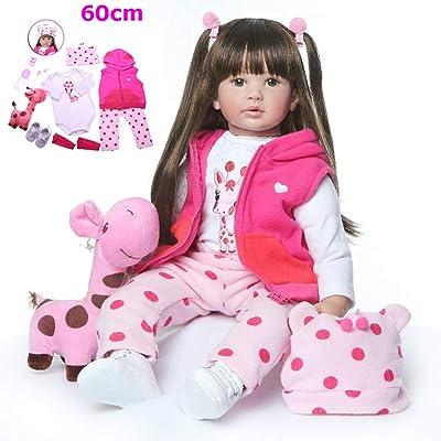 Zaoyun Fashion 60CM Brown or Golden Hair Reborn Toddler Princess Girl Doll Silicone Vinyl Adorable Lifelike Baby Bonecas Girl Bebe Doll Reborn (Cabello marrón): Juguetes y juegos